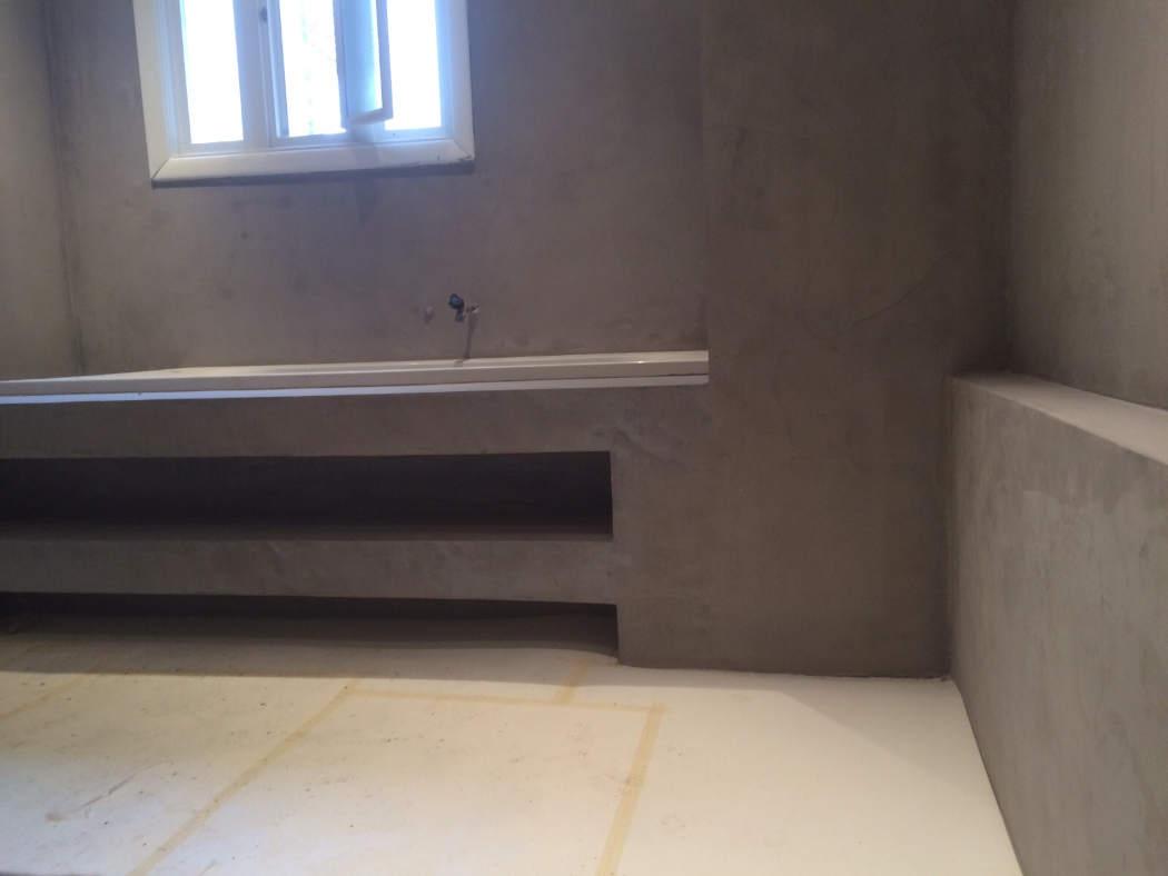 Beton cire afwerking badkamer verbouwing
