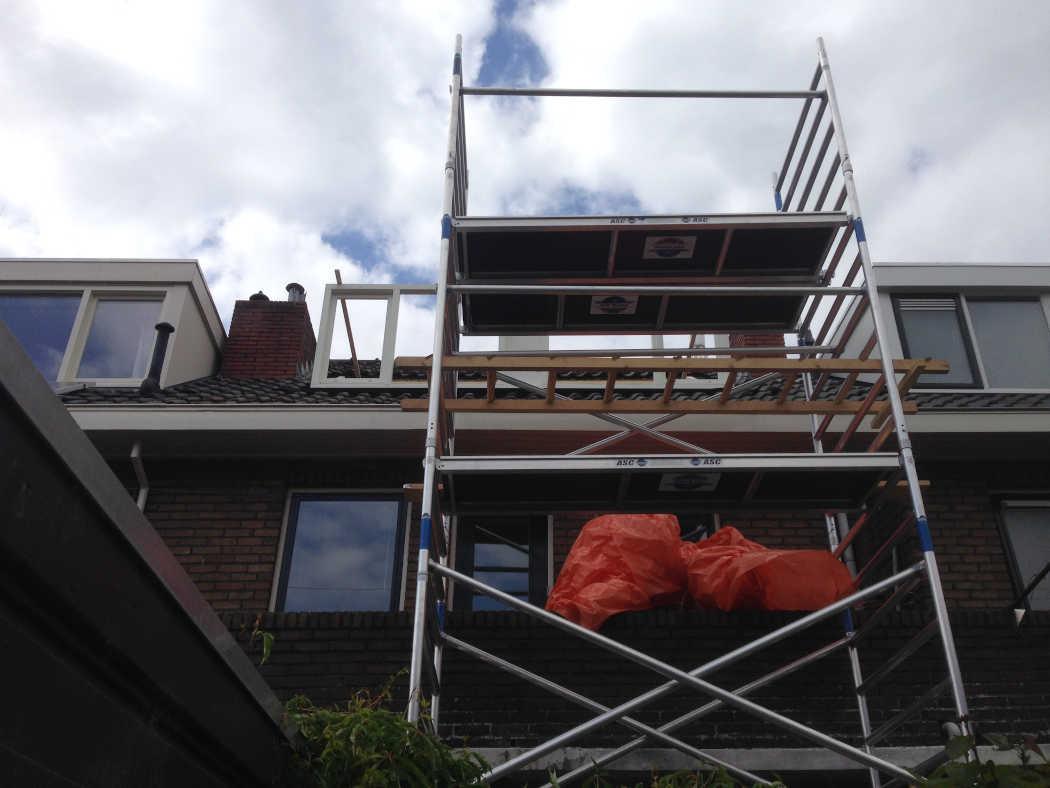 Kozijnen van dakkapel geplaatst